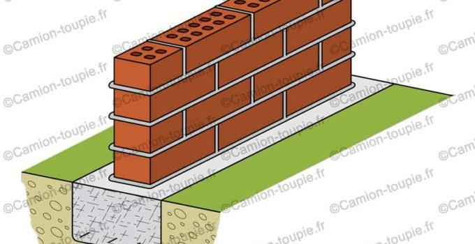 semelle fondation beton muret brique