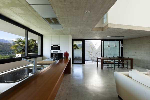 béton ciré sol cuisine et salon